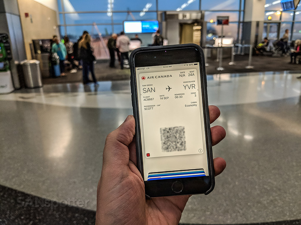 Air Canada mobile boarding pass