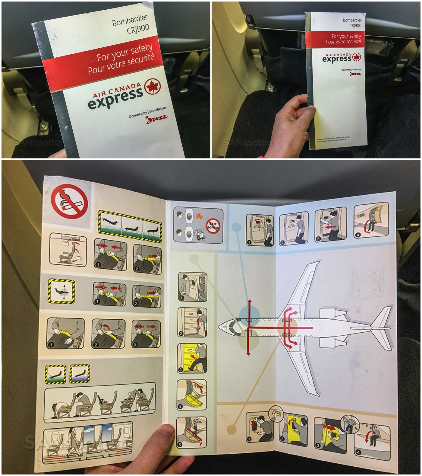 Air Canada express CRJ-900 safety card