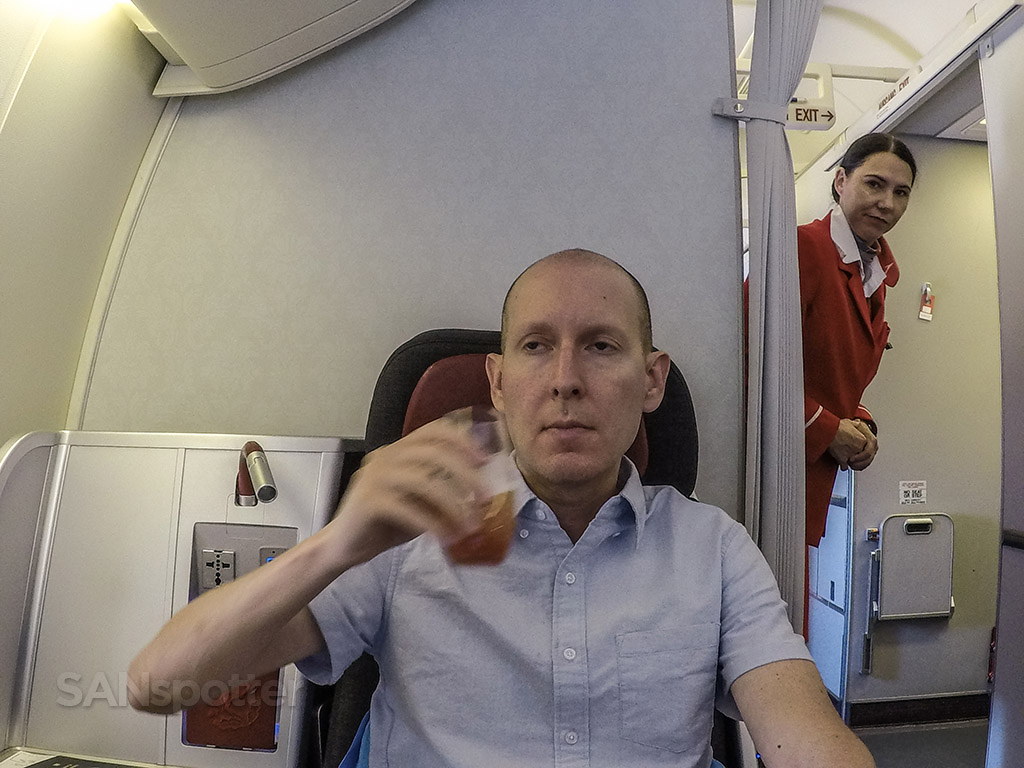SANspotter selfie Austrian Airlines drinks