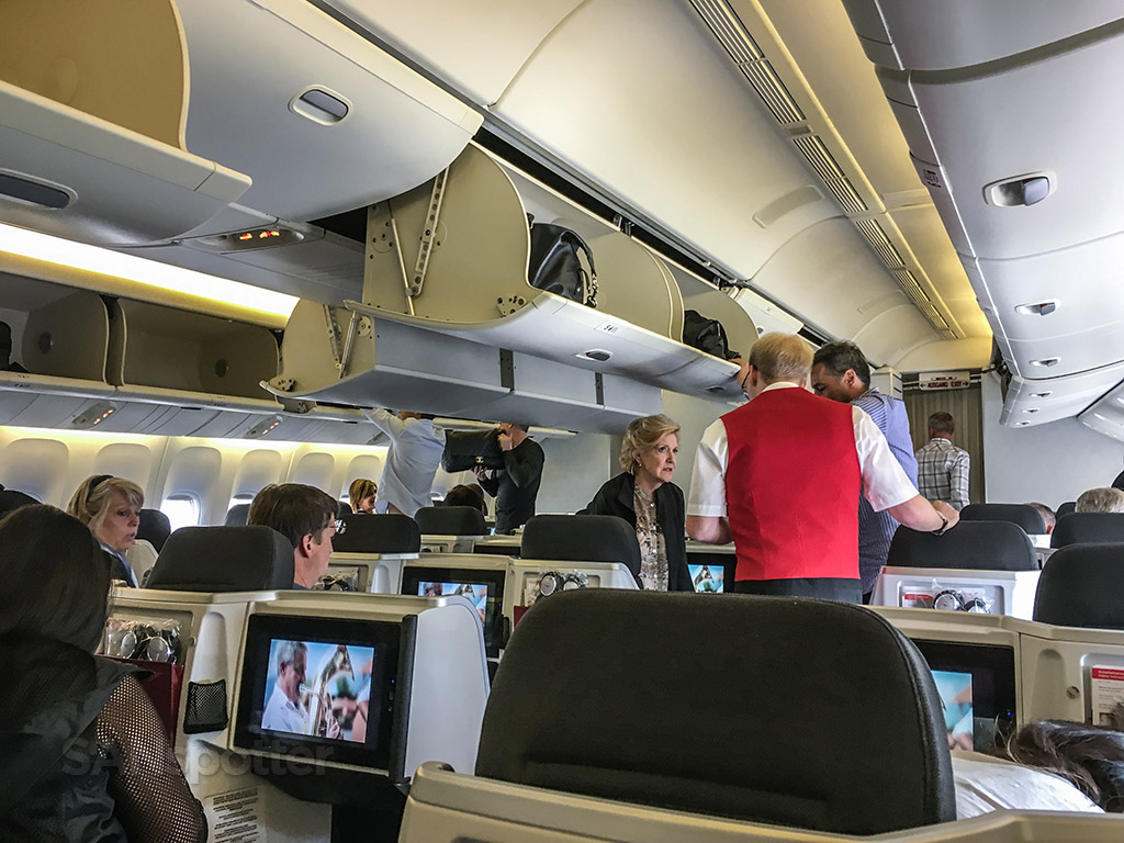 Austrian Airlines 777-200 business class cabin