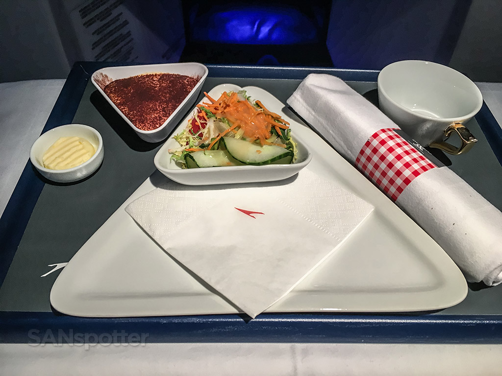 Austrian Airlines business class breakfast
