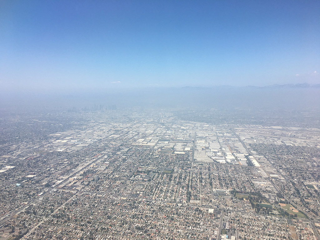 Flying over downtown Los Angeles LAX approach