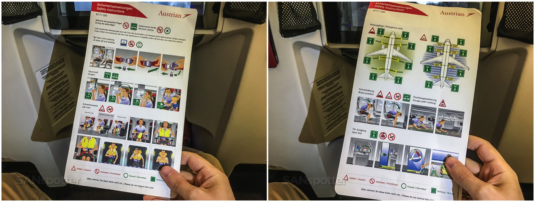 Austrian Airlines 777-200 safety card