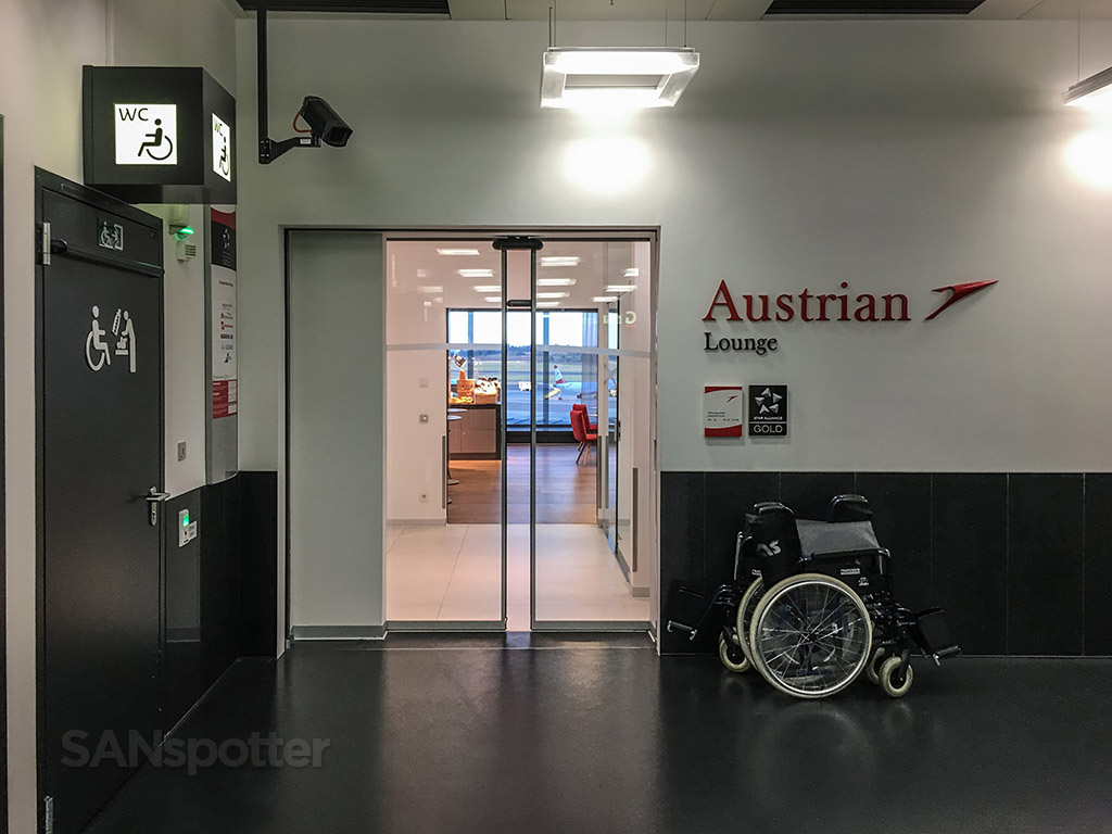 Austrian Airlines business class lounge entrance