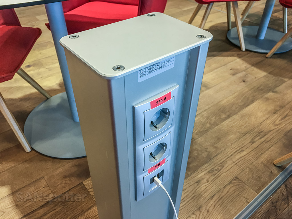 Power outlets in Austrian Airlines business class lounge