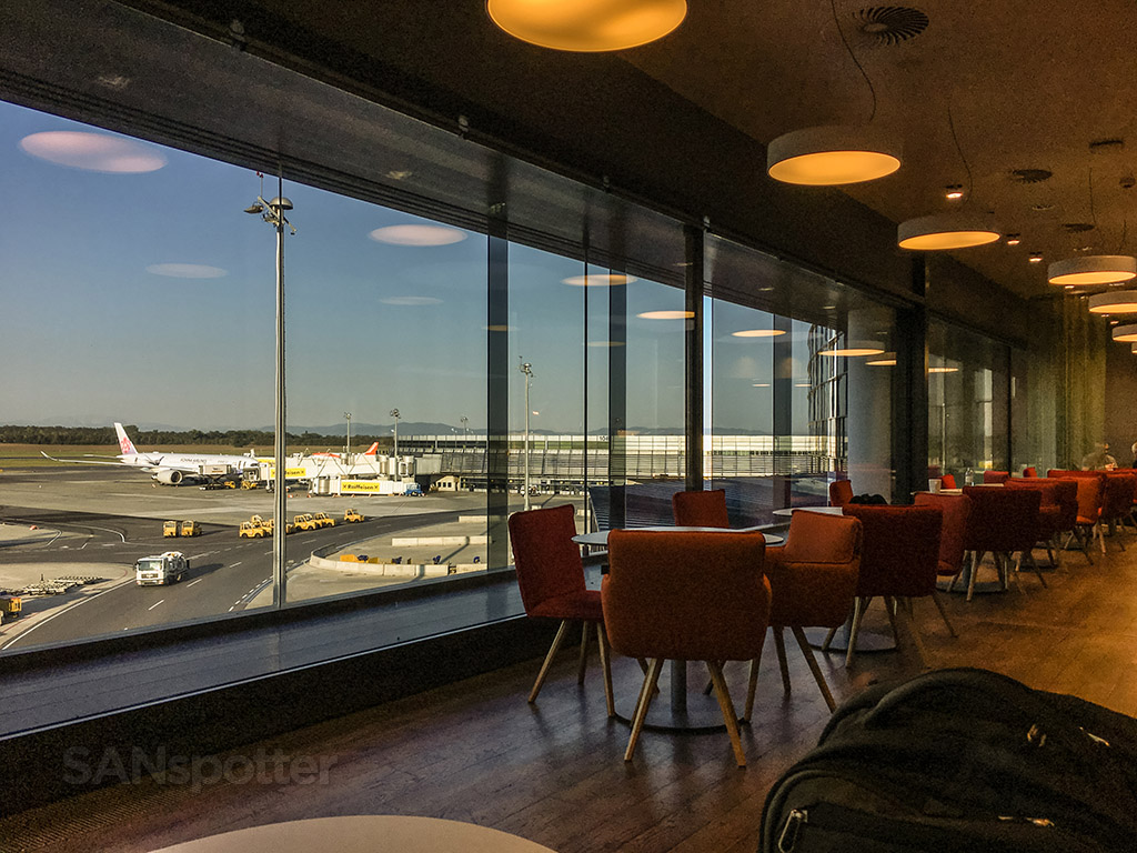 Austrian Airlines Lounge views of the airport