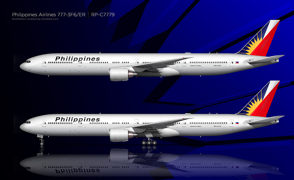 Philippine Airlines 777-300 side profile