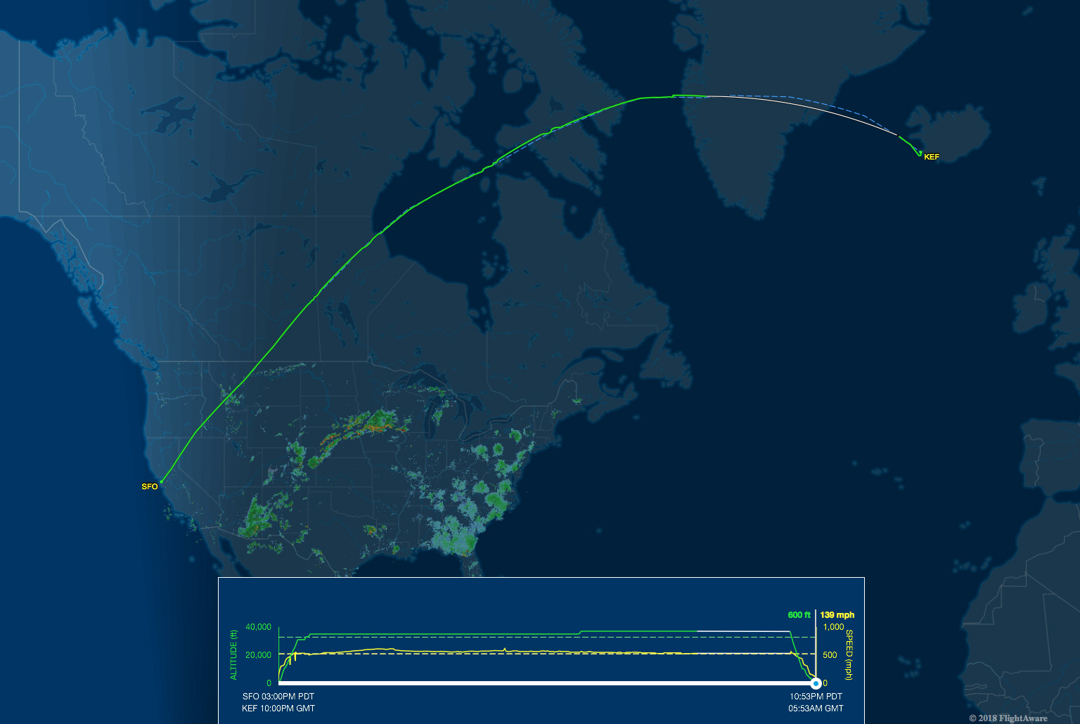 SFO-KEF route map