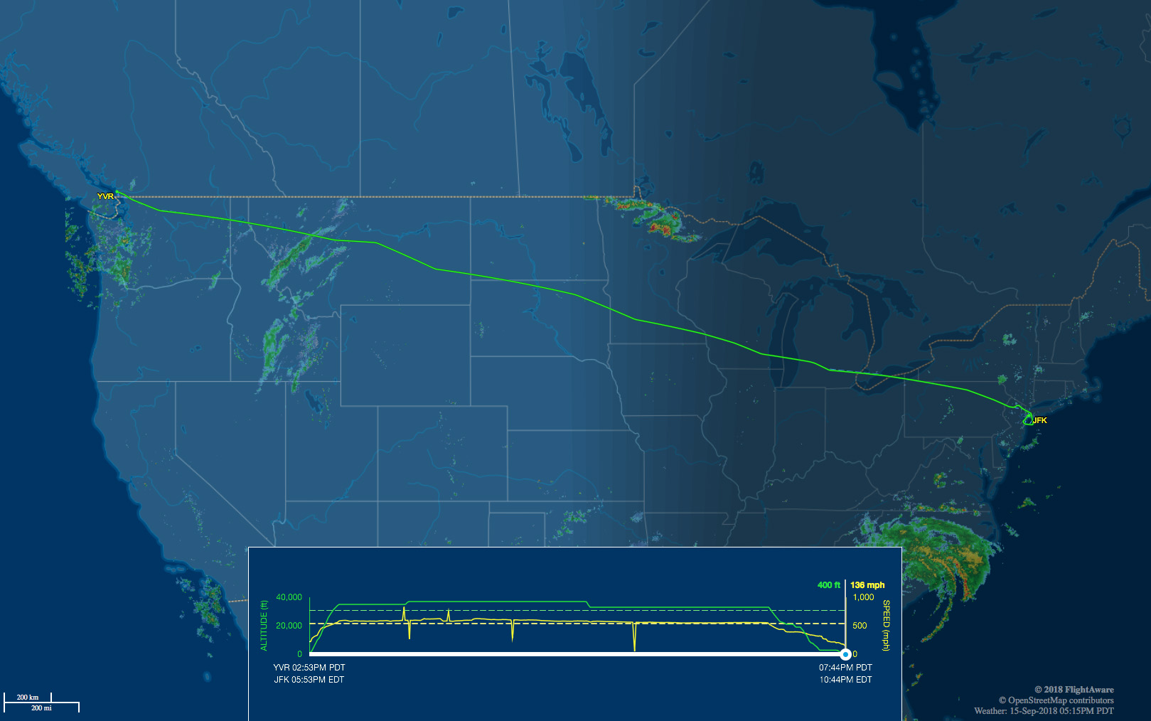 YVR to JFK route map