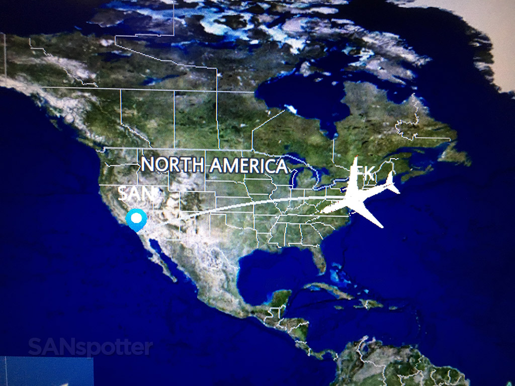 New York to San Diego in flight map