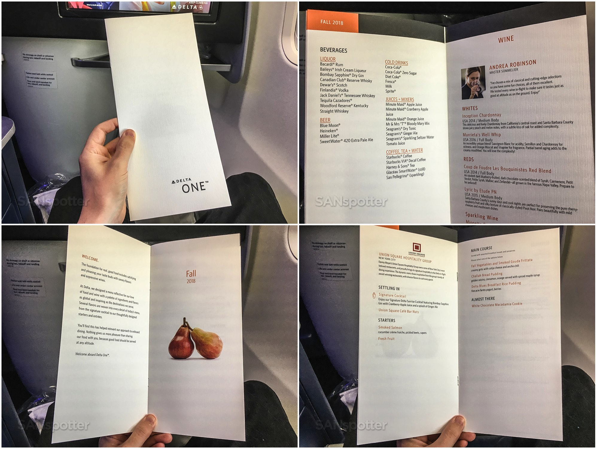 Delta one September 2018 breakfast menu