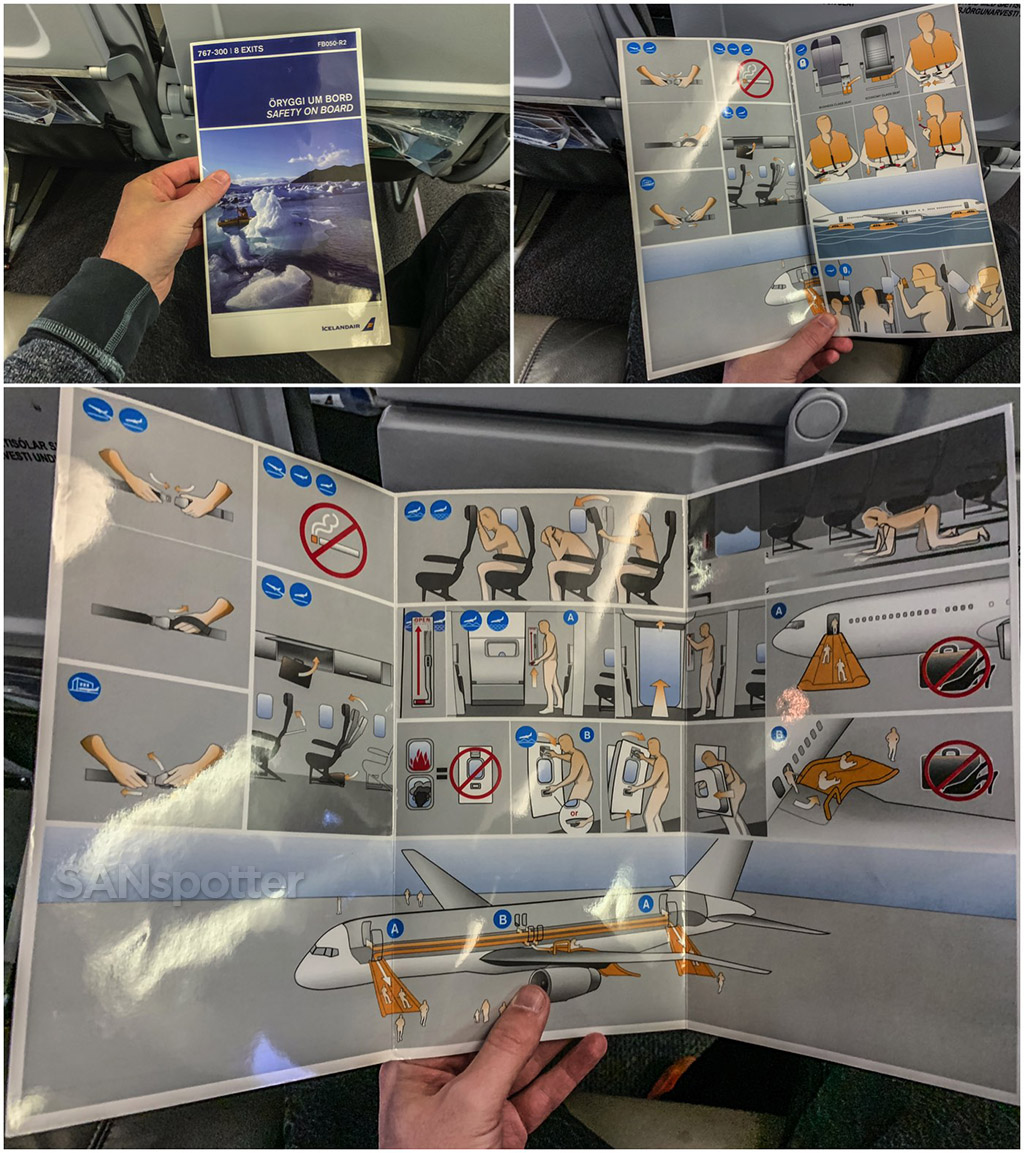 Icelandair 767-300 safety card unfolded