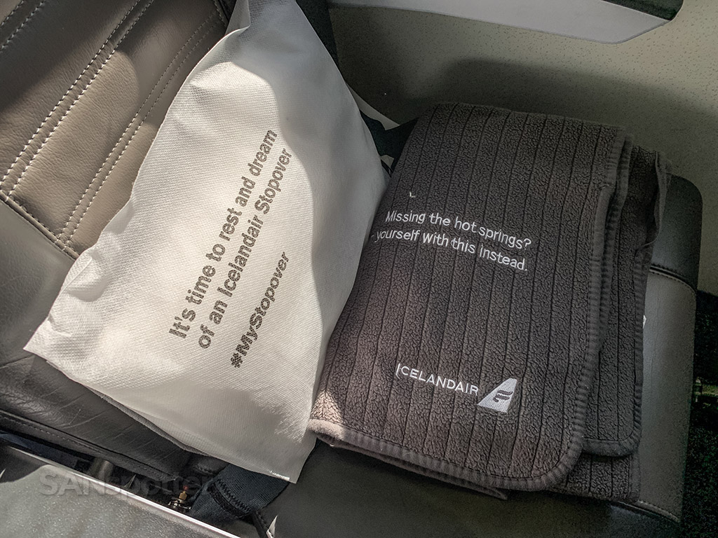 Icelandair blankets and pillows