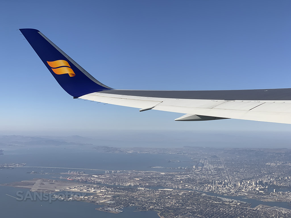 Icelandair flying over Oakland