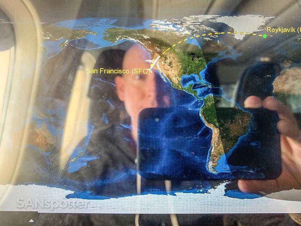 SANspotter selfie Icelandair SFO-KEF