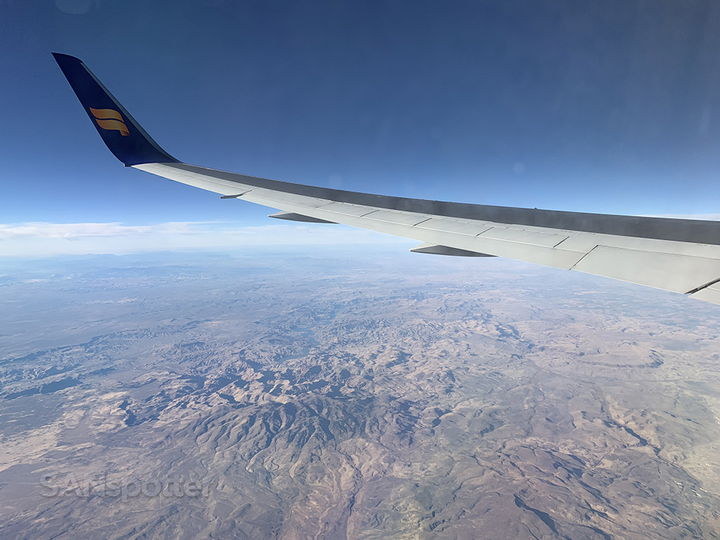 Flying over American west Icelandair