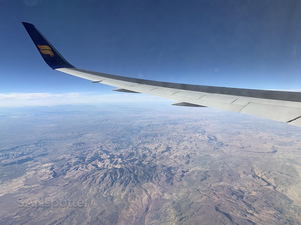 Flying over American west Icelandair