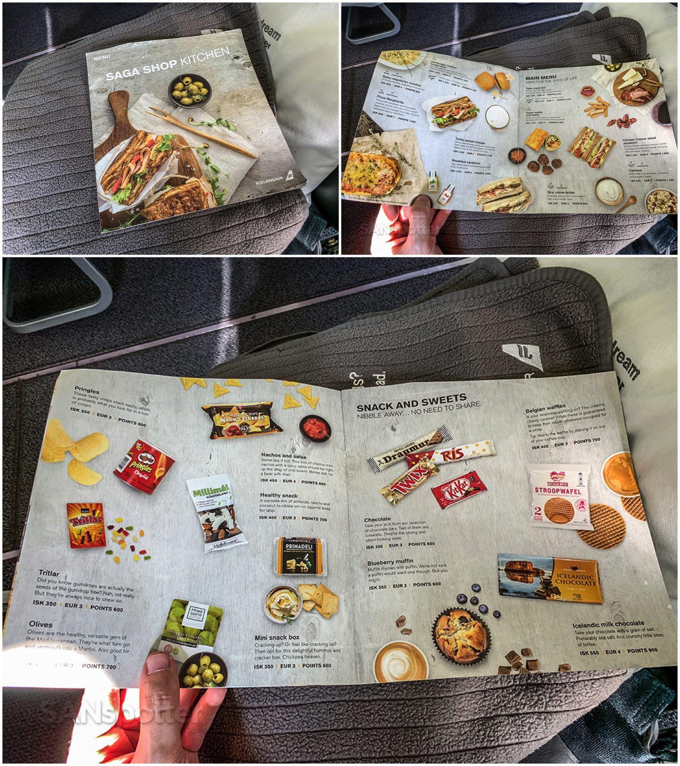 Icelandair economy class menu