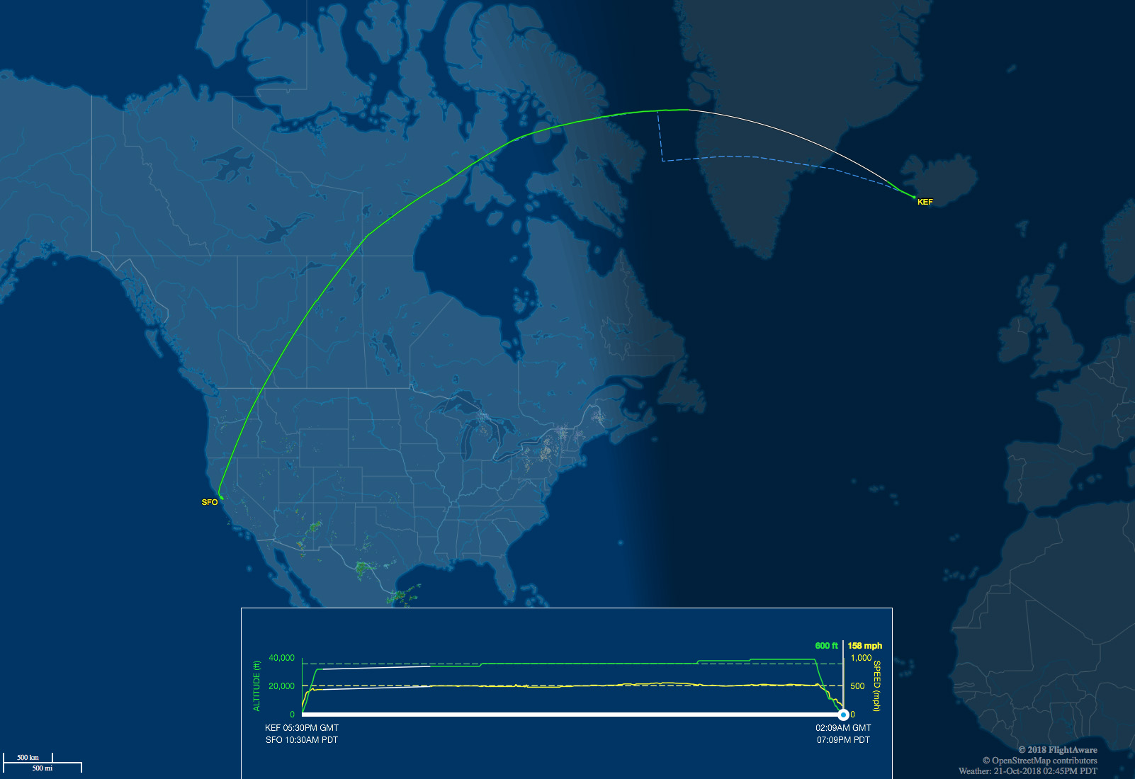 KEF-SFO route map