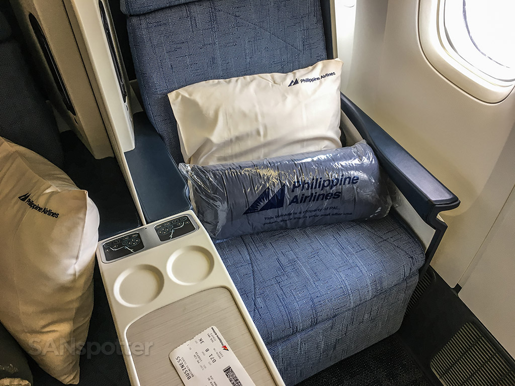 Philippine Airlines business class pillow and blankets