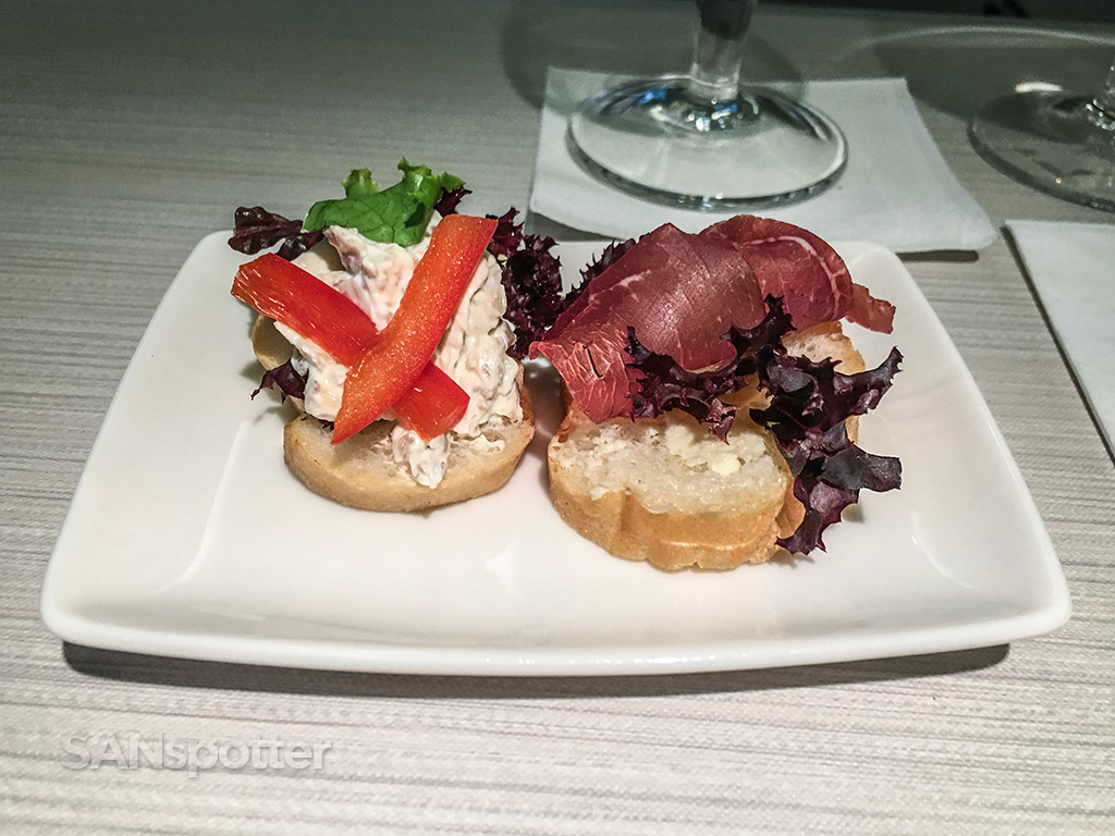 Philippine Airlines business class appetizer