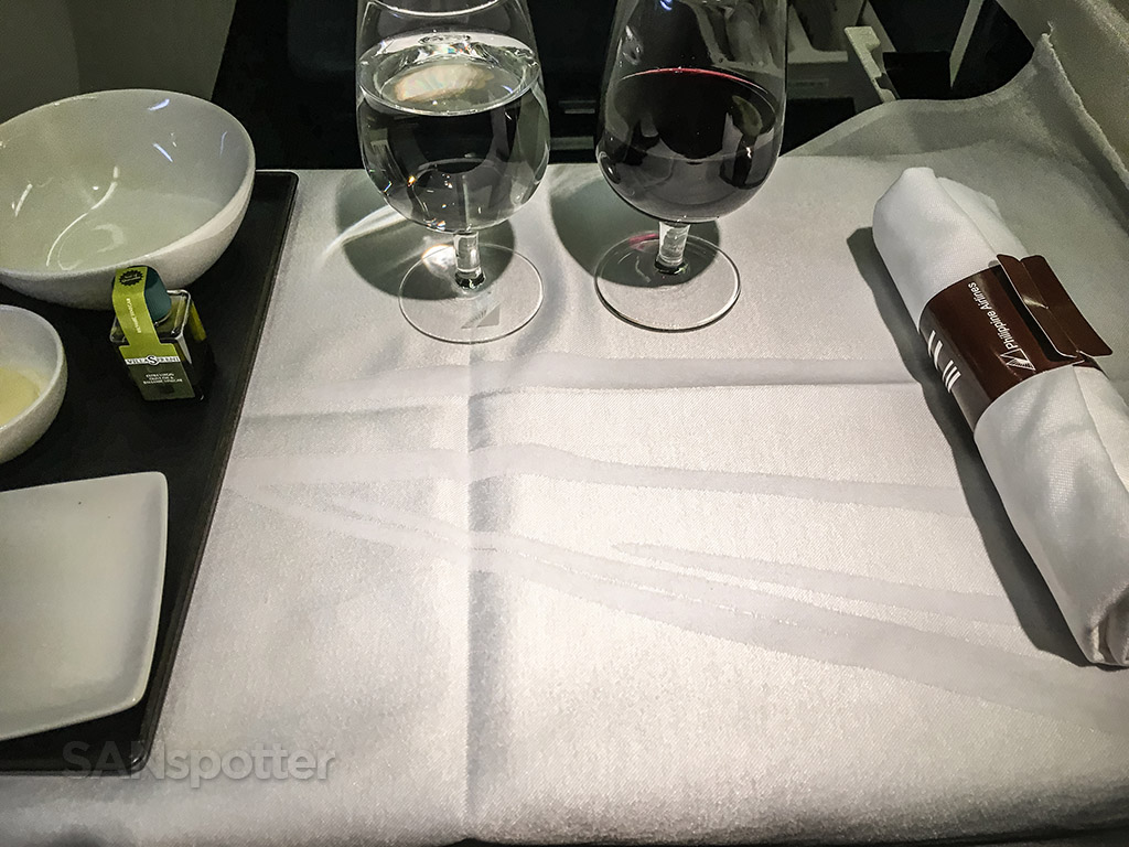 Philippine Airlines business class tray table setting
