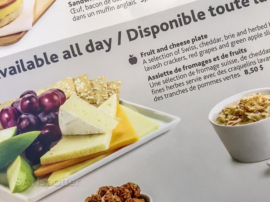 Air Canada economy class food menu