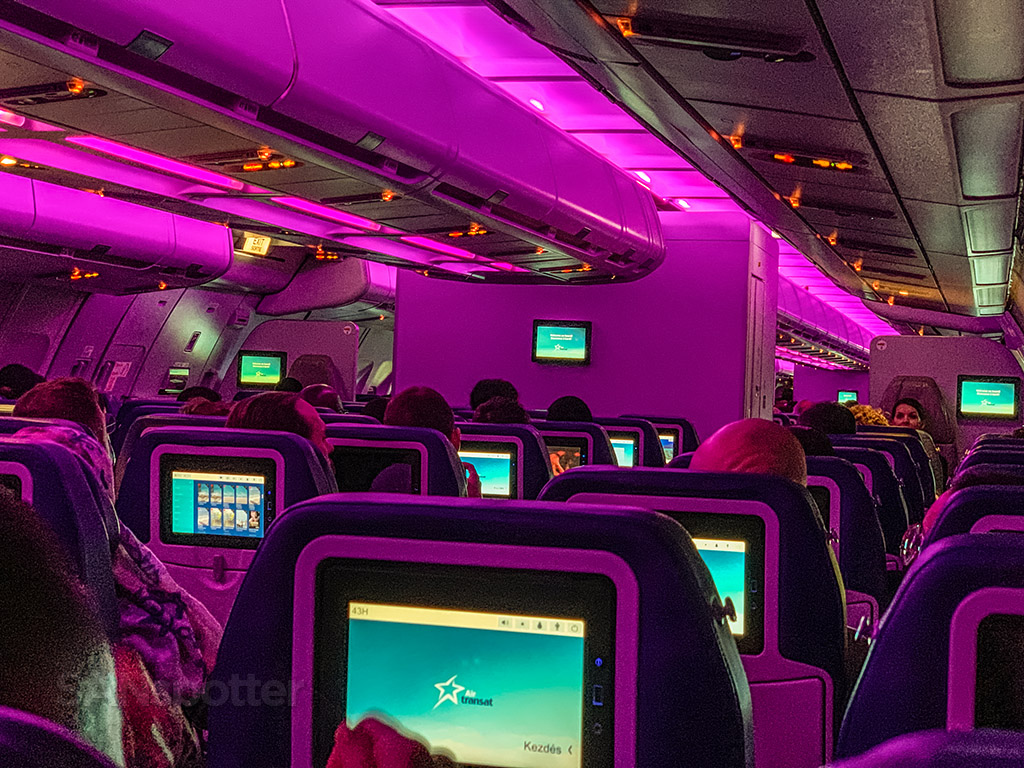 air transat purple mood lighting