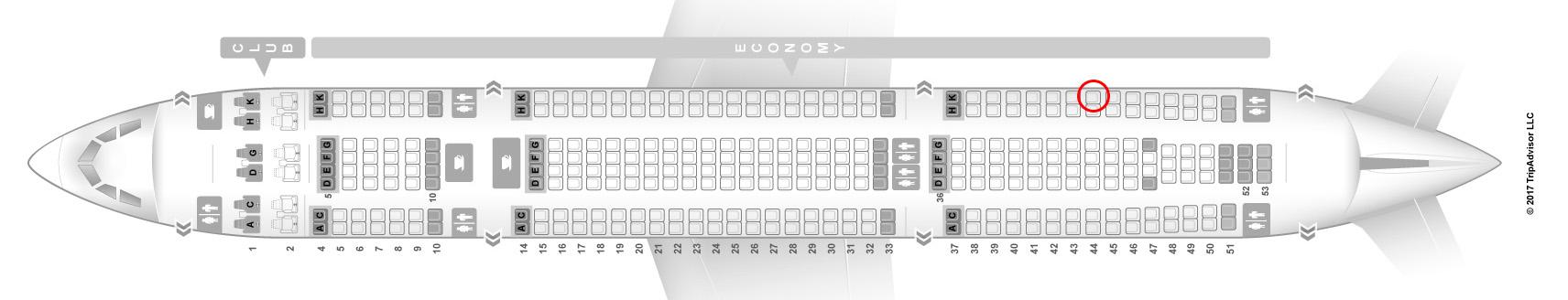 Air Transat A330-300 seat map