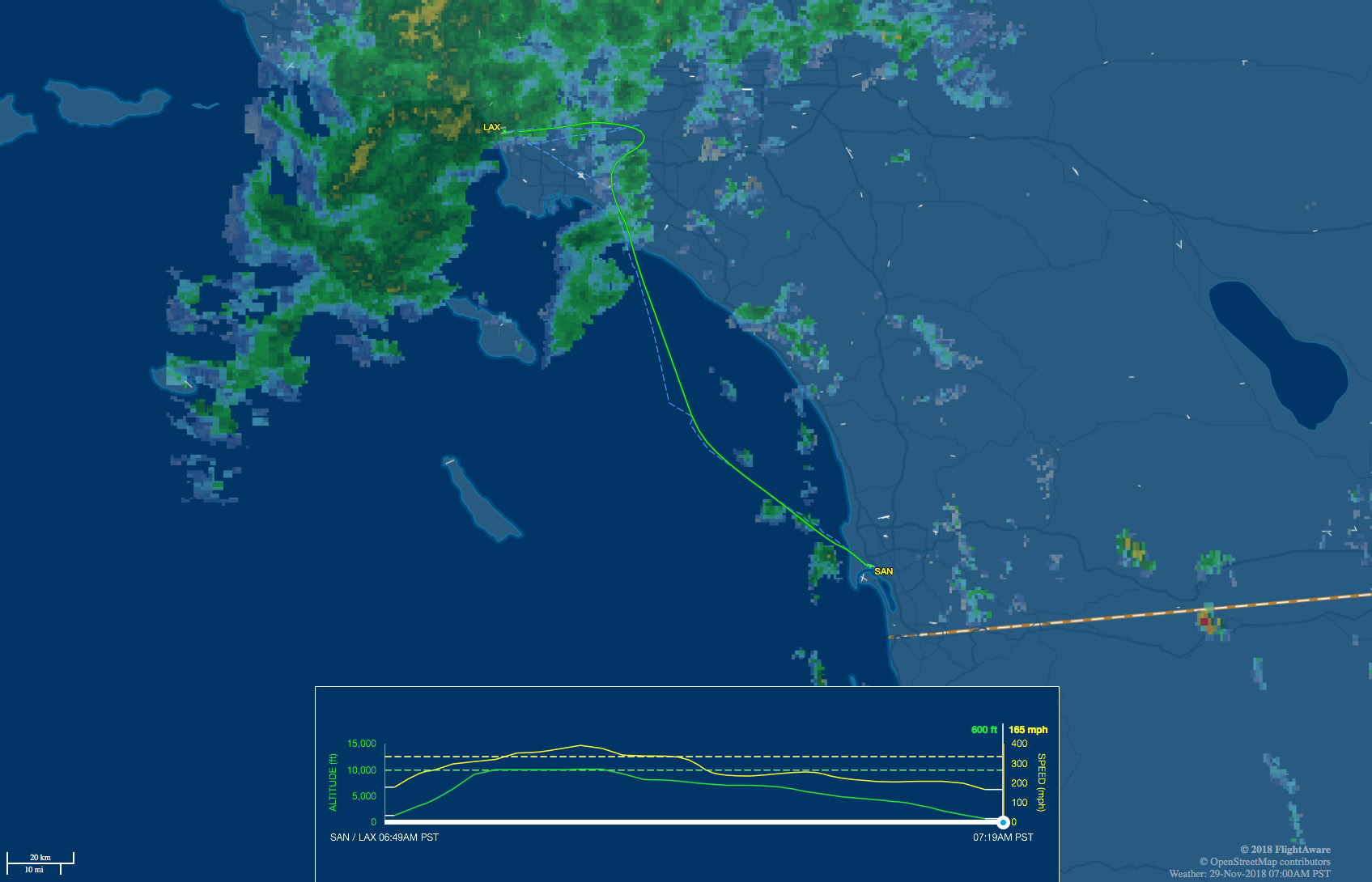 SAN to LAX flight map with rain and wind