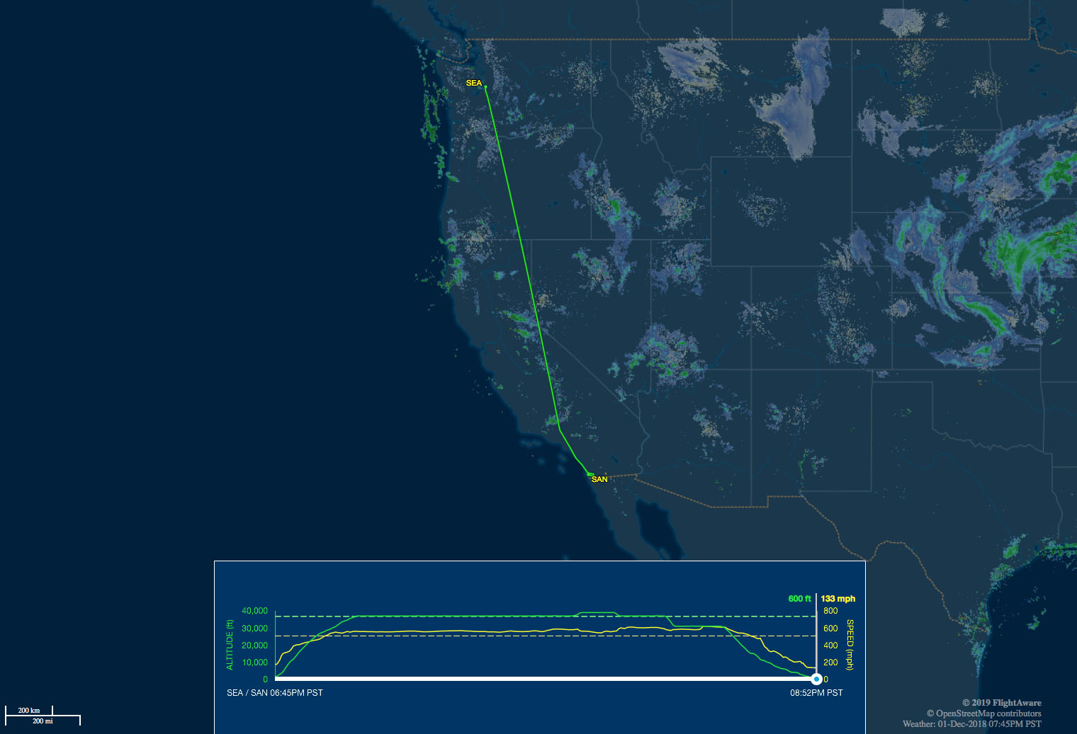 Seattle to San Diego route map
