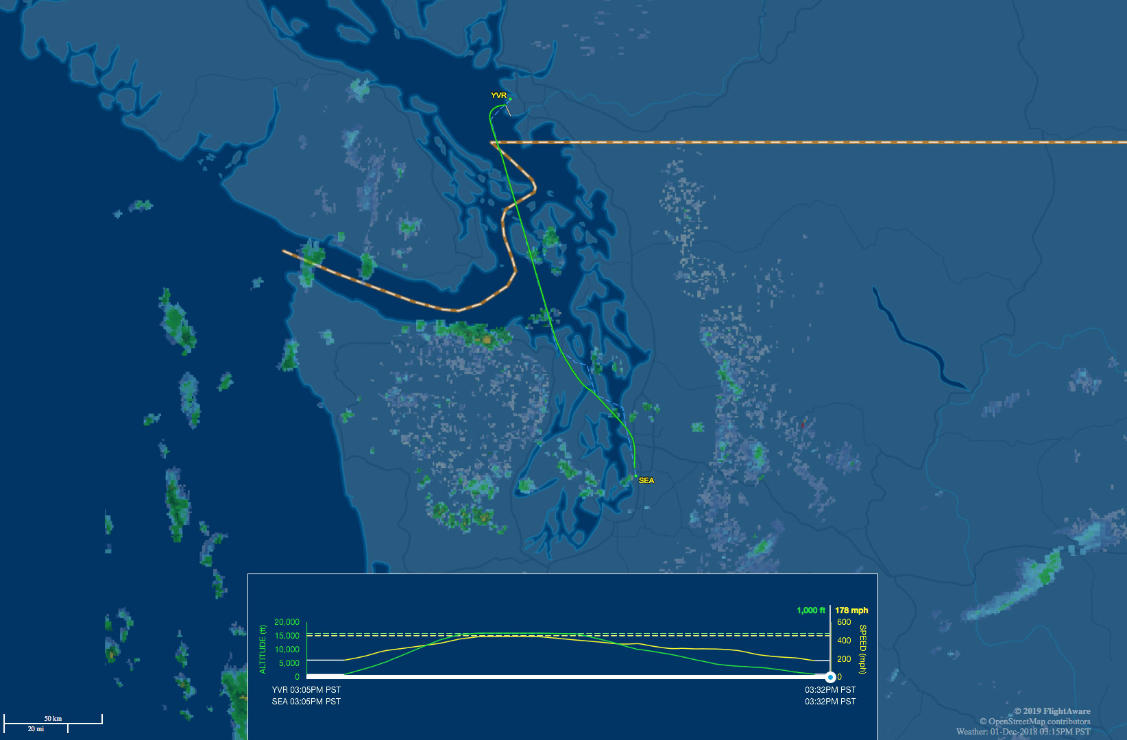 YVR-SEA route map