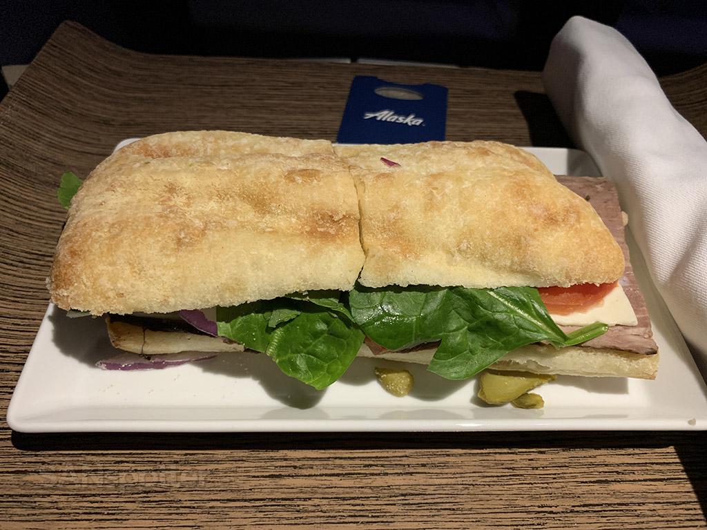 Alaska Airlines first class dinner