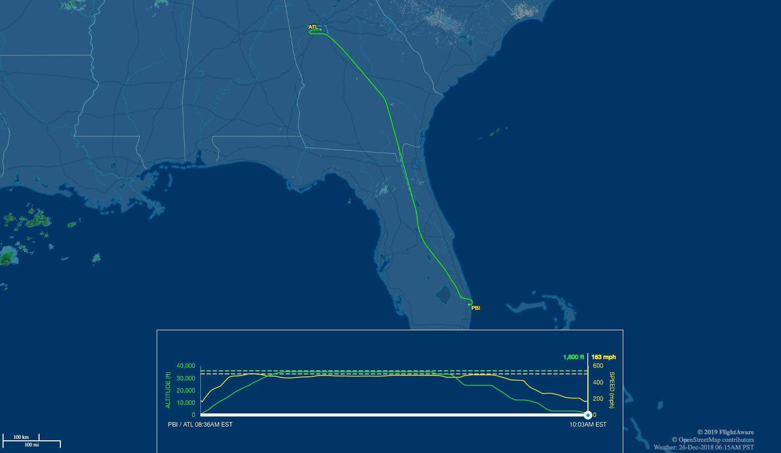 ATL to PBI route map