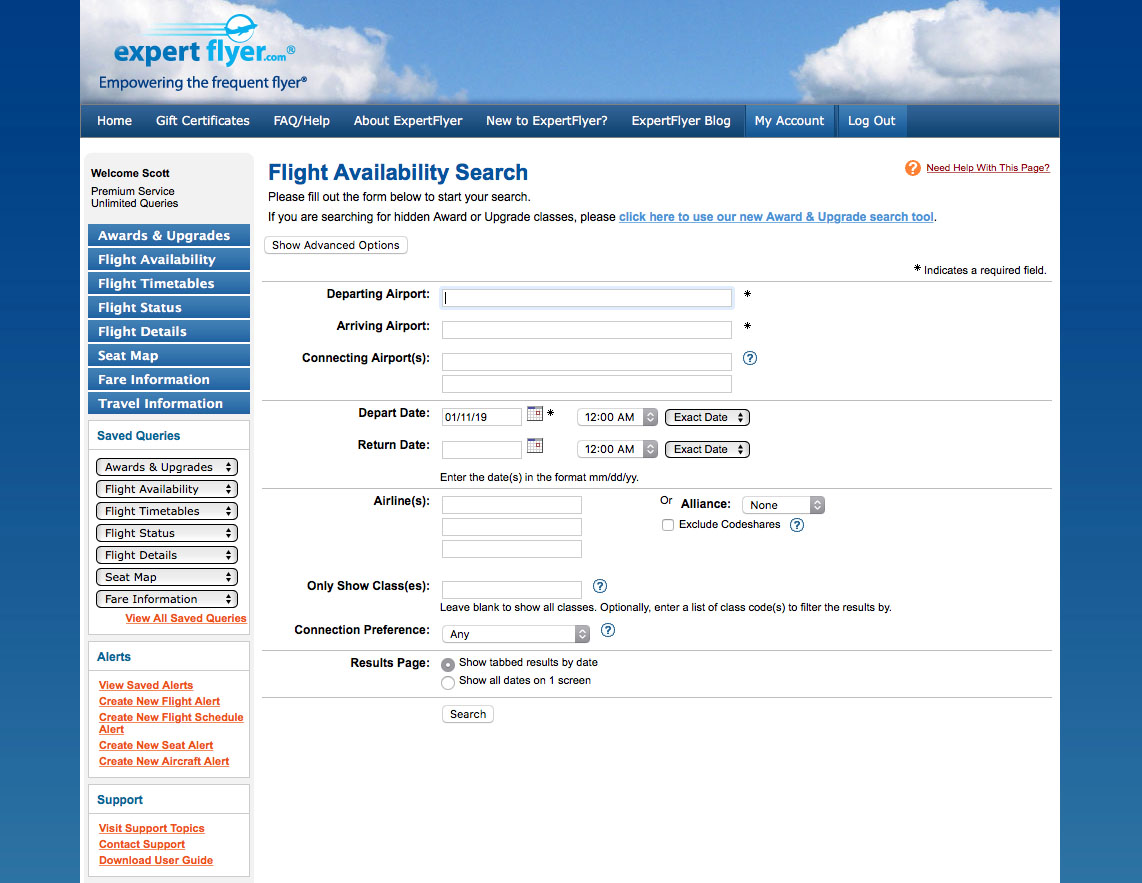 expertflyer screenshot