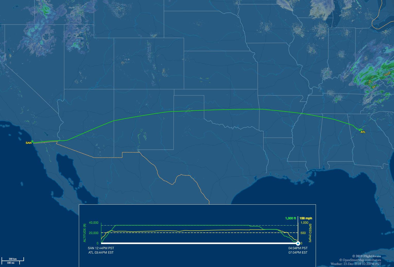 SAN-ATL route map delta 767-400