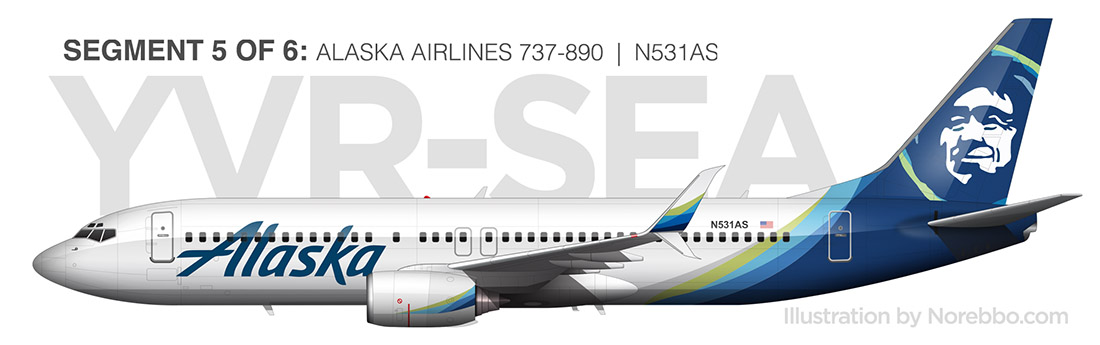 Alaska Airlines 737-800 side view new livery
