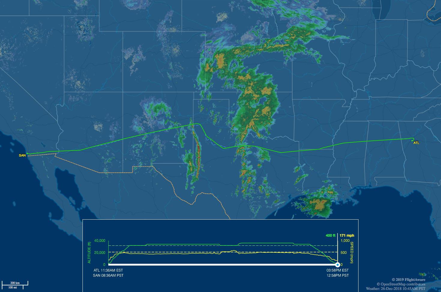 Atlanta to San Diego flight route