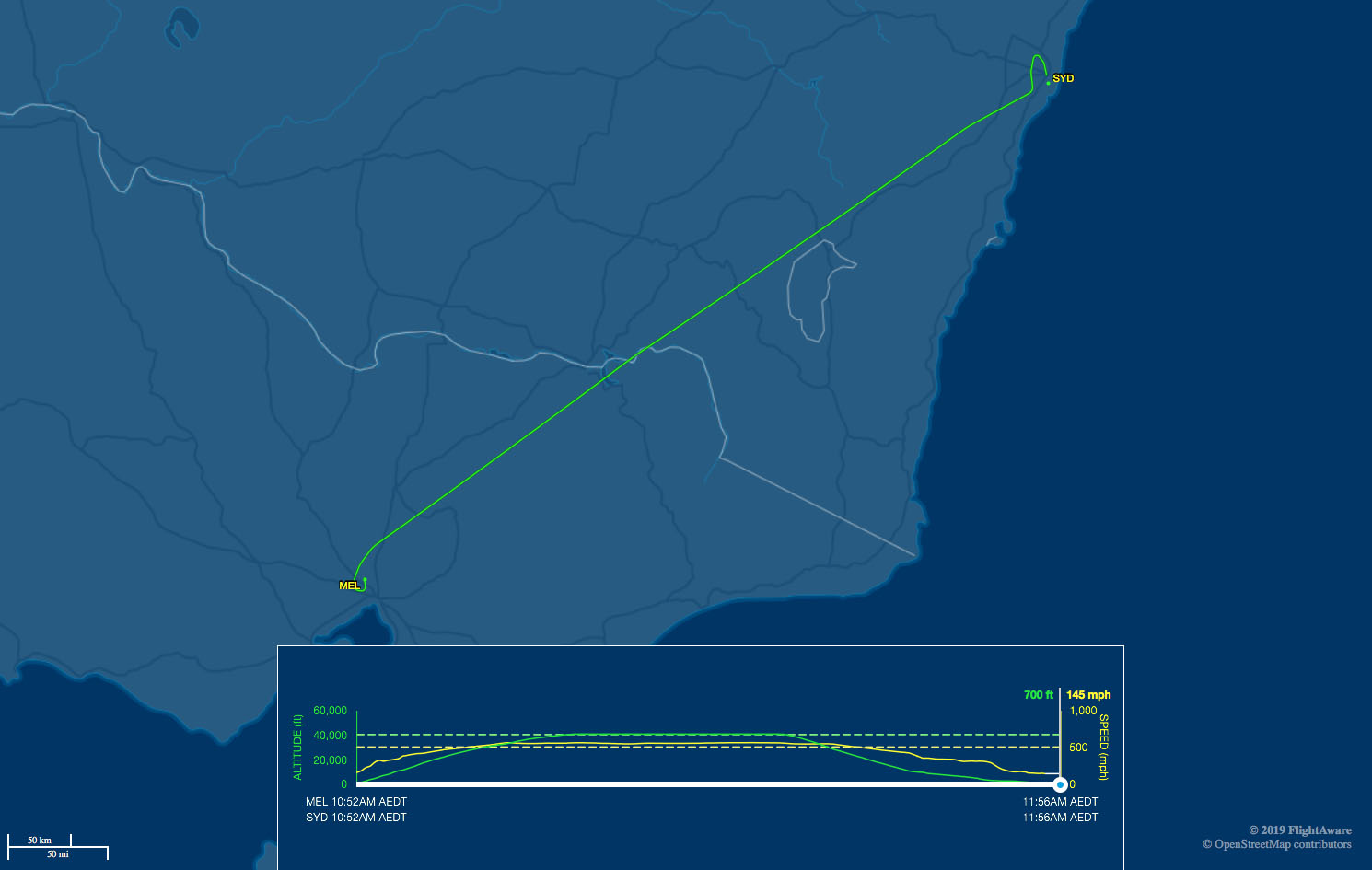 Melbourne to Sydney route map