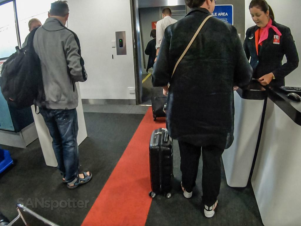 Boarding Qantas first class
