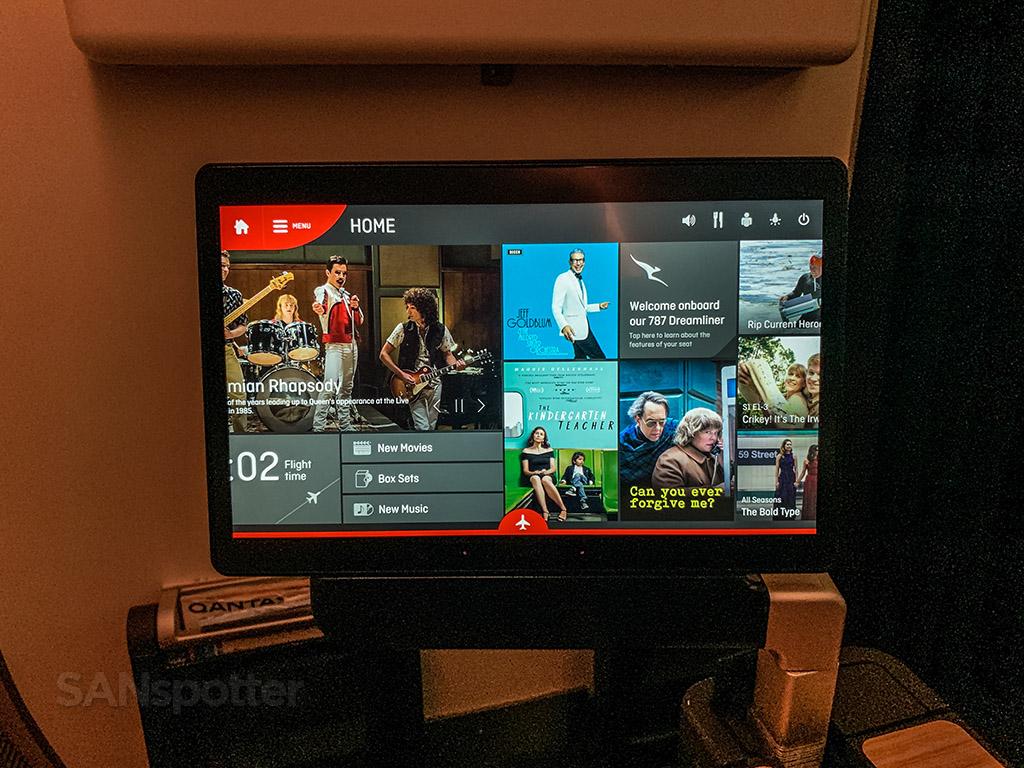 Qantas in flight entertainment