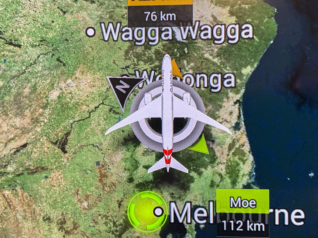 Qantas in flight map