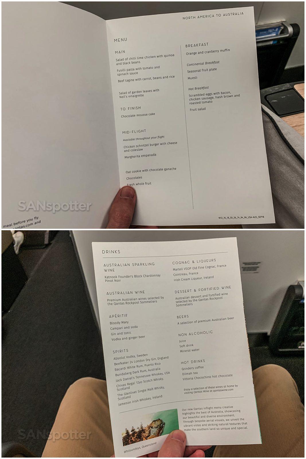 Qantas premium economy menu