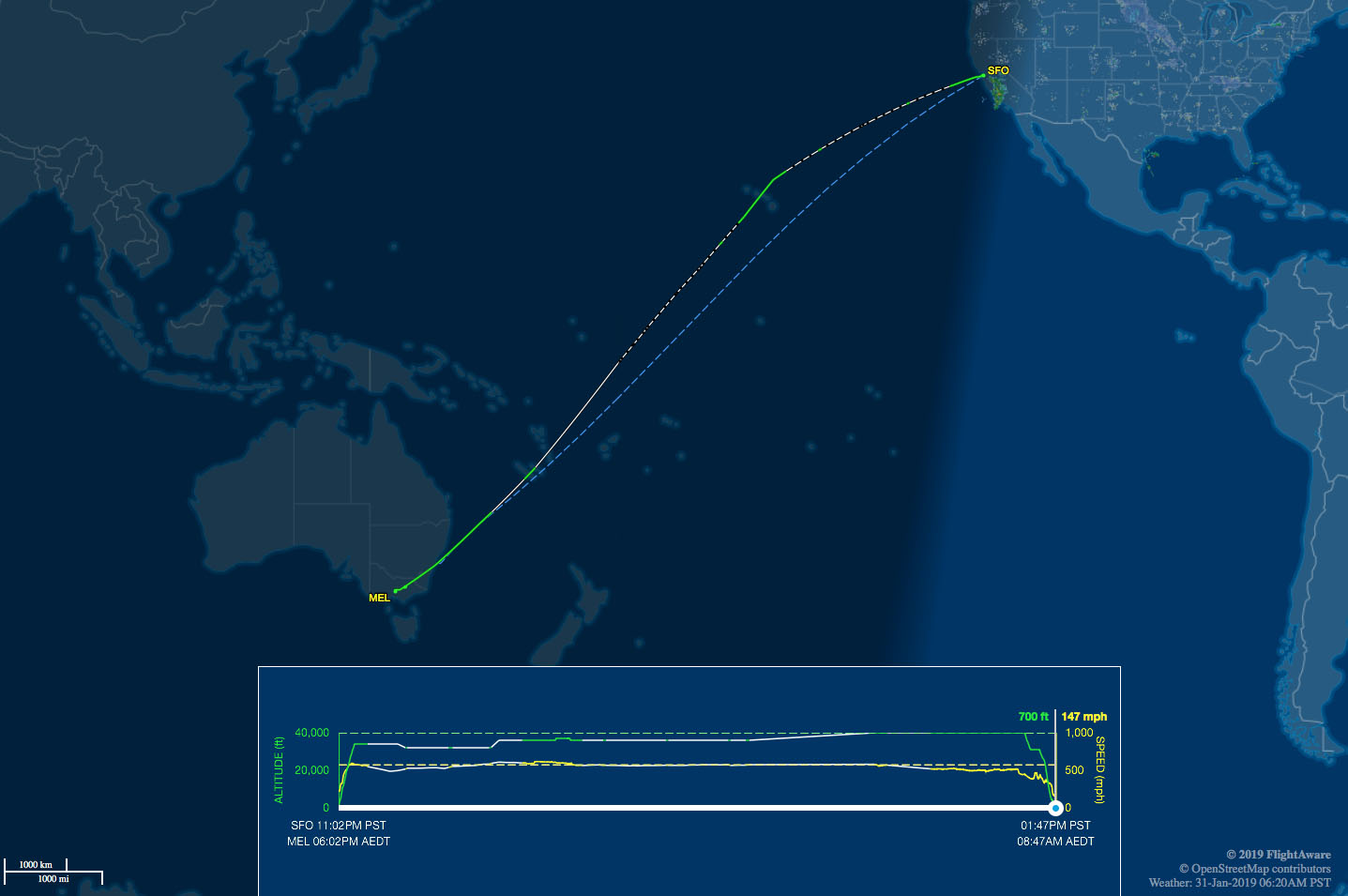 SFO to Australia route map