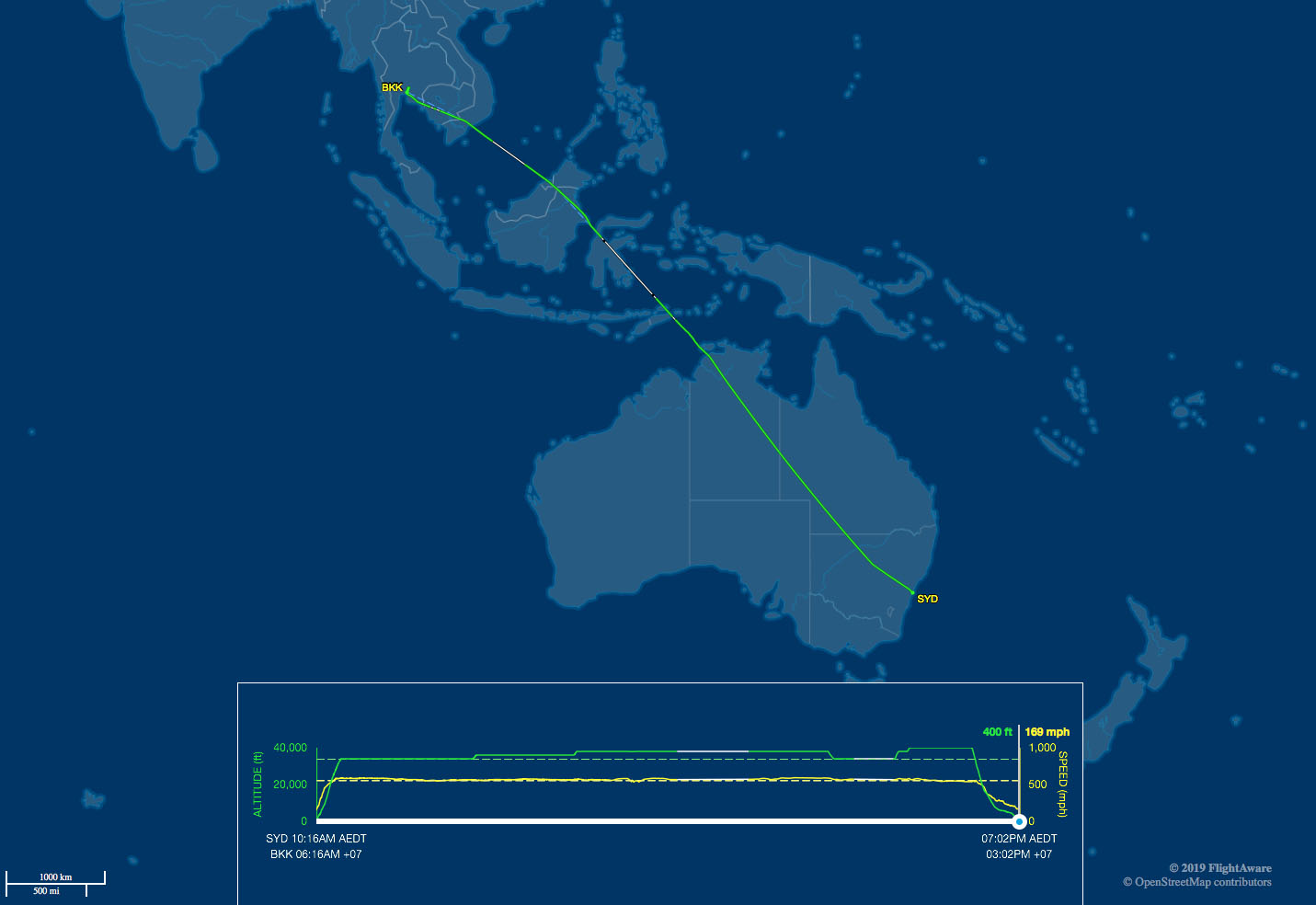 SYD-BKK route map