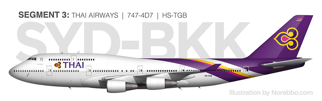 Thai Airways 747-400 side view
