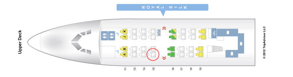 Thai Airways 747-400 upper deck seat map
