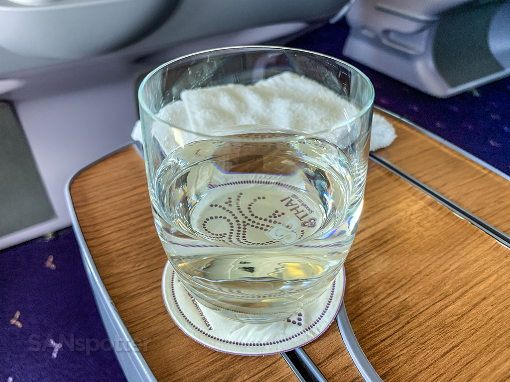 Thai Airways business class pre departure drink