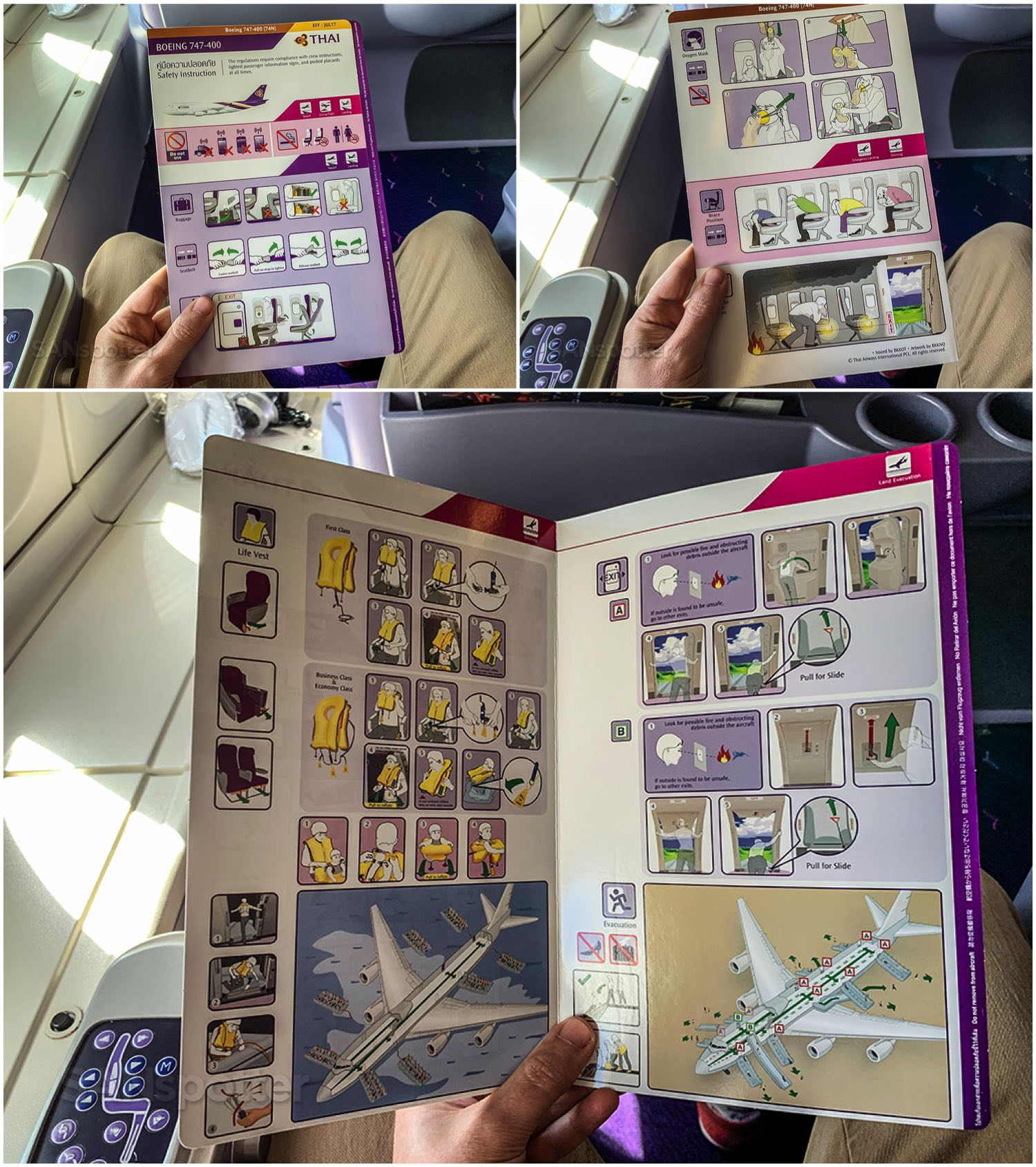 Thai Airways 747-400 safety card