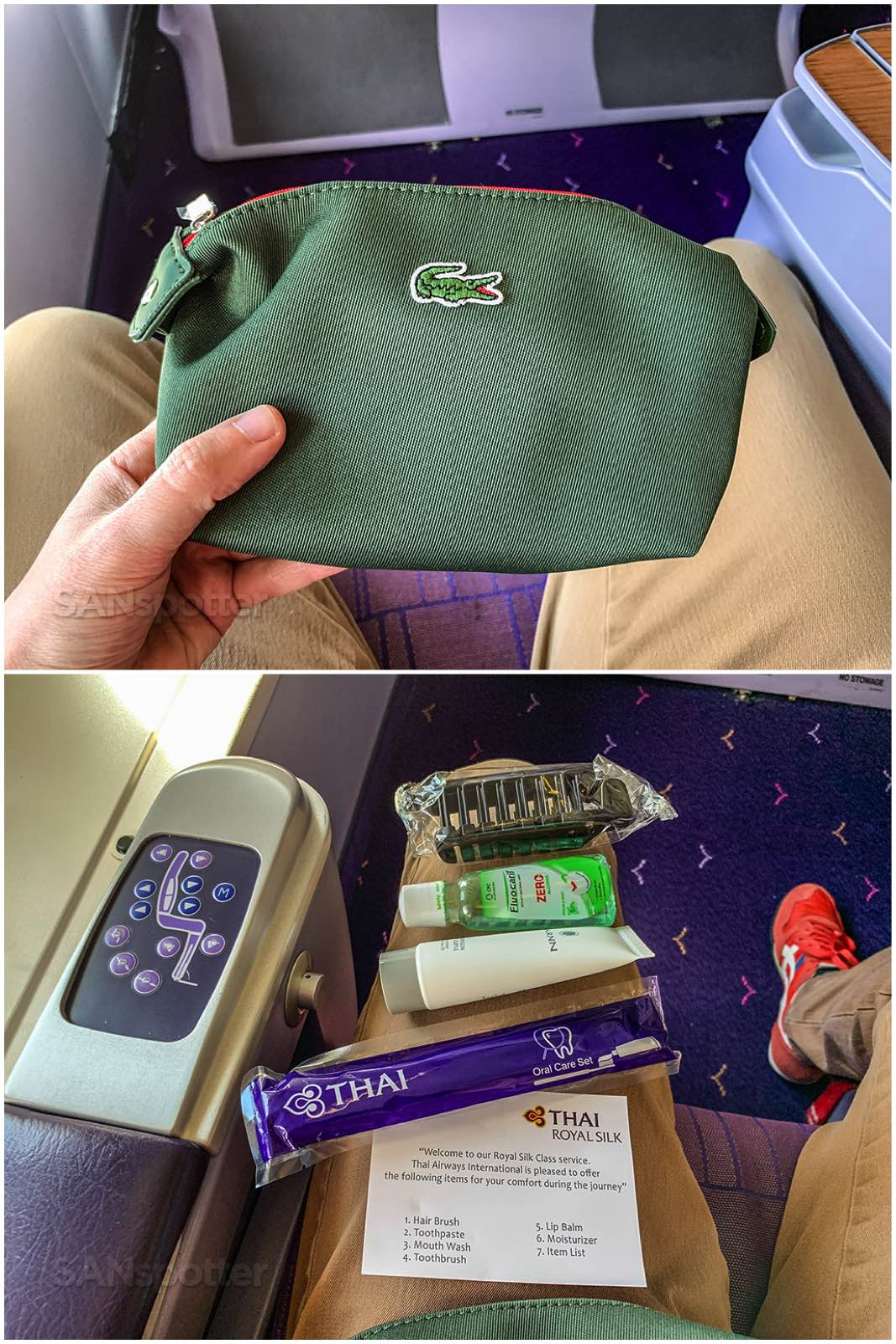 Thai Airways business class amenity kit